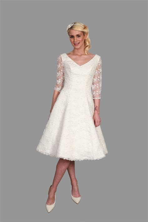 Hn Veronica Brocade Tea Length Wedding Dress With Subtle