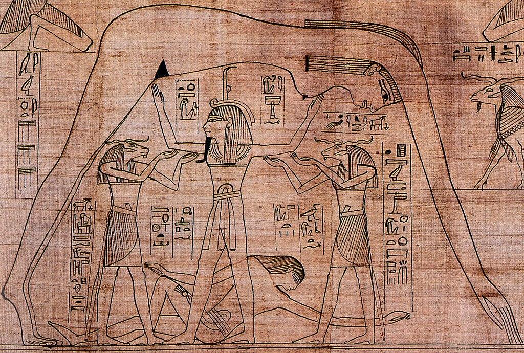 El dios Shu (el aire) separando a la diosa Nut (el Cielo) y al dios Geb (la Tierra)