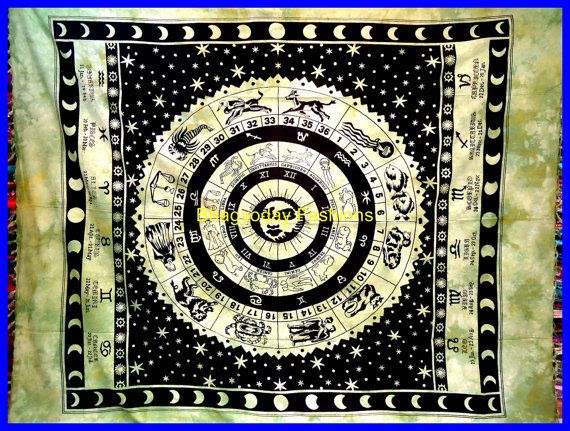 ASTROLOGY Horoscope Zodiac Hippie Hippy Indian Tapestry Wall Hanging …