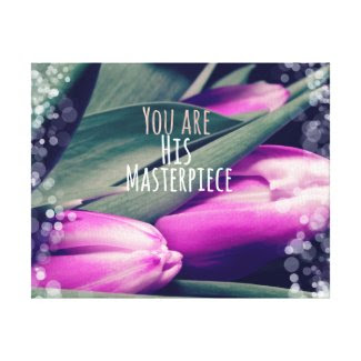 Christian Quote Masterpiece with Tulips Stretched Canvas Print