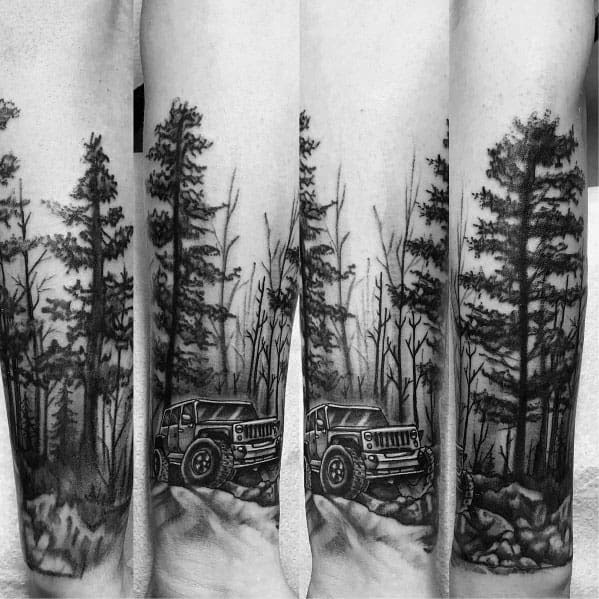 Forearm Sleeve Jeep Driving Over Boulders Mens Tattoo