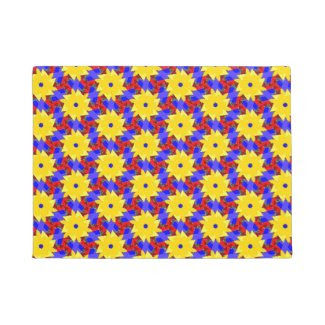 Cheerful Yellow Pinwheel-like Design on Doormat