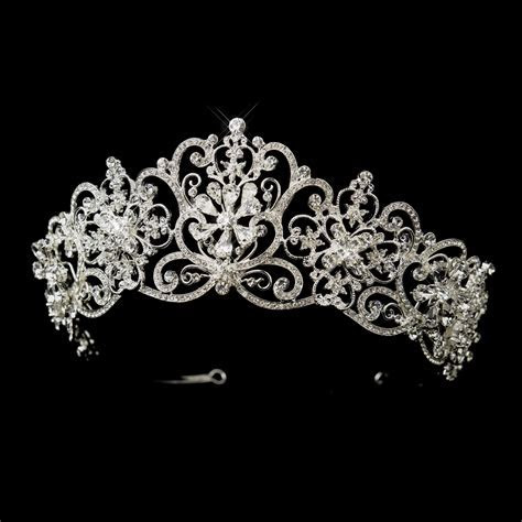 Rhinestone Floral Royal Wedding Tiara   Elegant Bridal