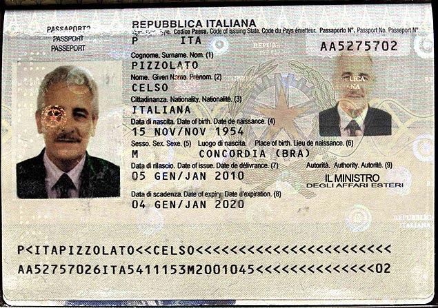 Interpol divulgou uma imagem que seria do passaporte encontrado com Henrique Pizzolato, na Itália
