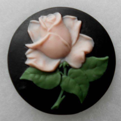 DELICATE PINK ROSE ON BLACK JASPERWARE BUTTON