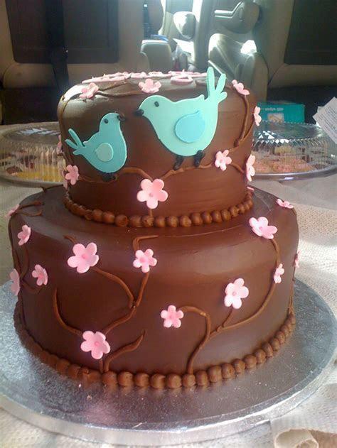Birds on Chocolate Tiers   Cakes By Karen, Inc