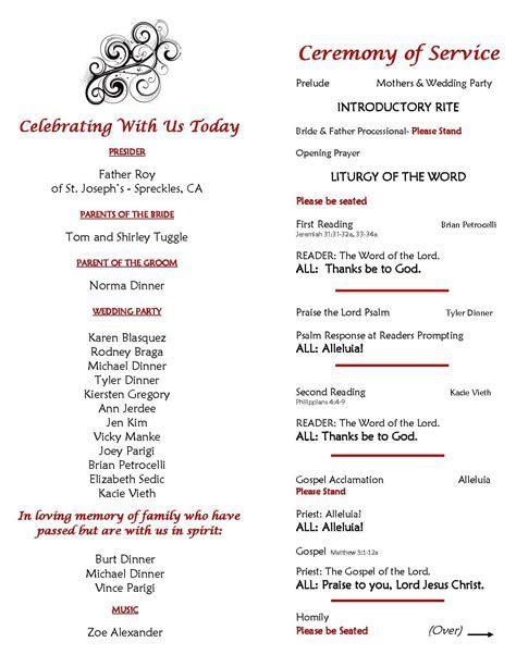 Catholic Wedding Ceremony Program sample: Page 2 Inside of