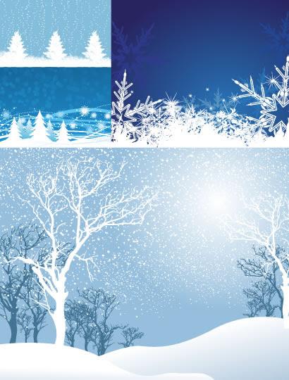 冬風景雪の結晶枯れ木のイラストaieps ベクタークラブ