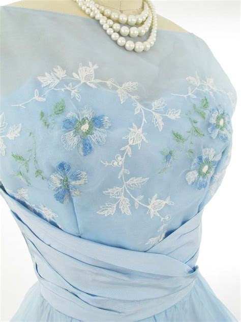 50s Blue Embroidered Organza Chiffon Dress Vintage Wedding