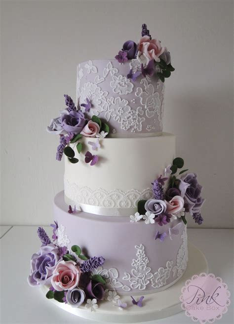 Lavender Lace and Flowers Wedding Cake   Wedding Cakes by