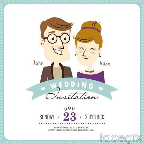 Creative cartoon wedding invitation card vector ? Over