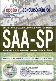 Apostila Concurso SAA SP 2018 | AGENTE DE APOIO AGROPECUÁRIO