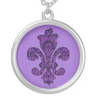 Goth Fleur de lis - twilight violet necklace