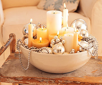 Silver Beads Sparkle in Candlelight