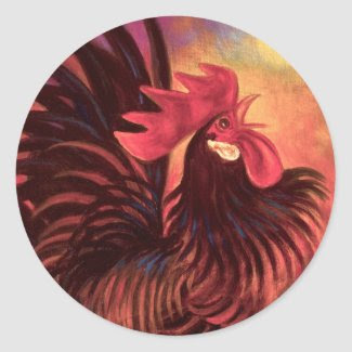 Red Cock Rooster Painting Art - Multi Stickers