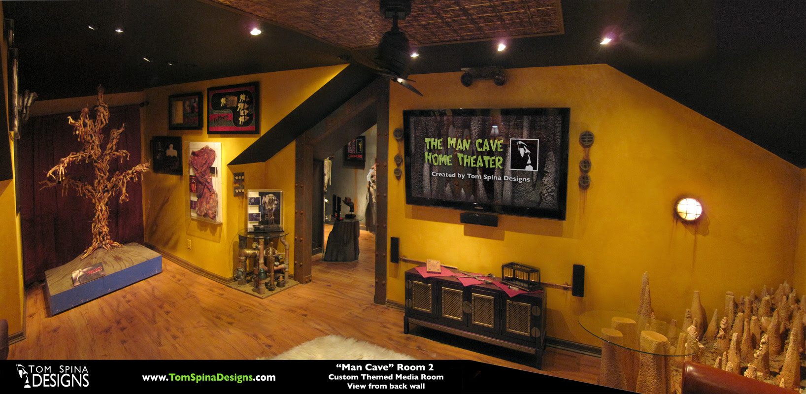 Custom Man Cave Horror Themed Home Theater Movie Prop Museum Tom Spina Designs Tom Spina Designs