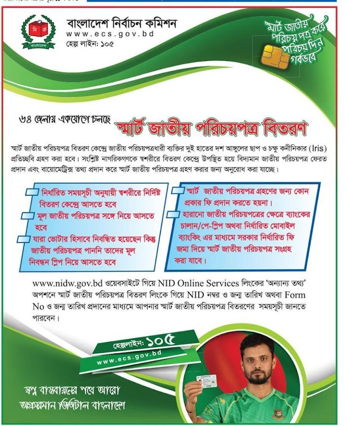 NID Smart Card Distribution Schedule 2020 www.nidw.gov.bd