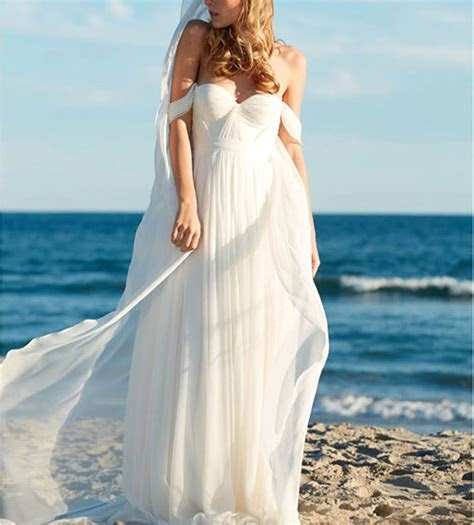 Elegant A Line Empire Bridal Beach Wedding Dress   Cute