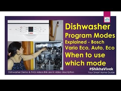 Bosch Dishwasher Program modes explained ; Vario eco, Intensive Kadhai etc