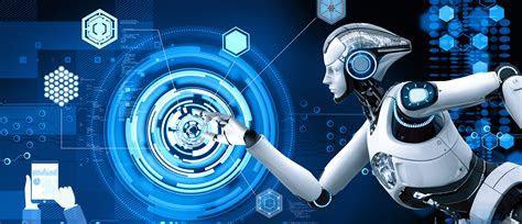 Creative Technology Smart Robot Blue Background, Creative