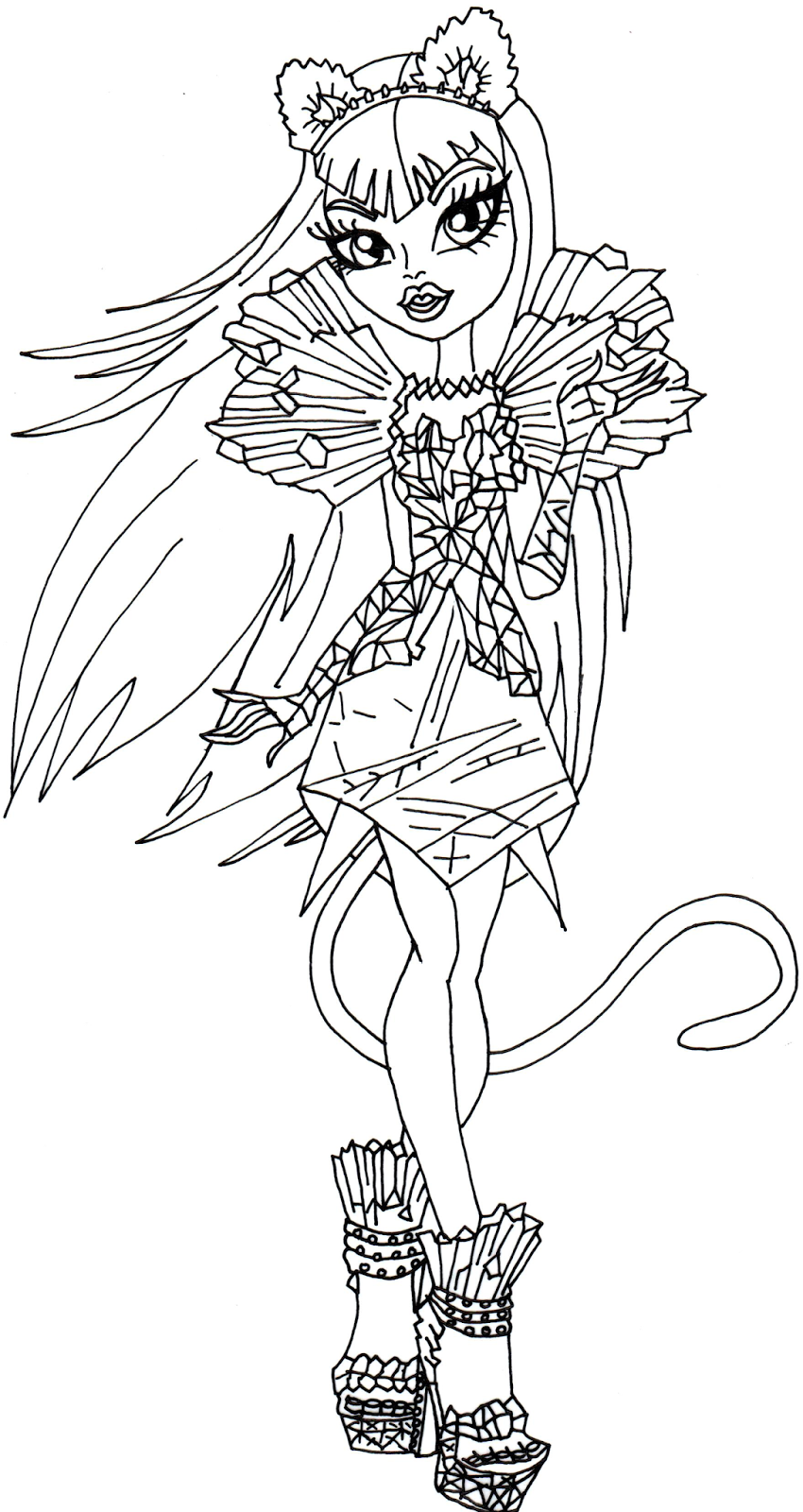 Monster High Coloring Pages Catty Noir At Getcoloringscom Free