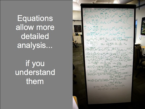 Equations allow more detailed analysis... if you understand them.