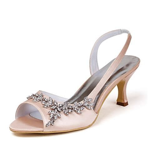 Satin Upper Mid Heel Strappy Sandals Wedding Bridal Shoes