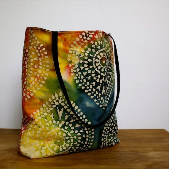 Summer Tote in Rainbow Batik