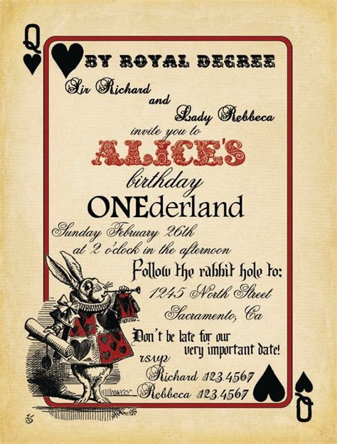 59 best alice invites   printables images on Pinterest