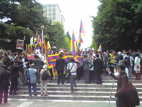 Students' protests during Hu Jintao's Waseda University visit 3