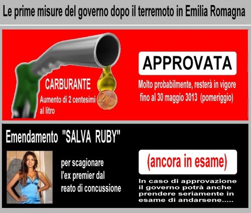satira,attualità,terremoto,carburante,governo,salva ruby,
