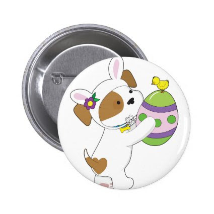 Cute Puppy Easter Egg Pinback Button