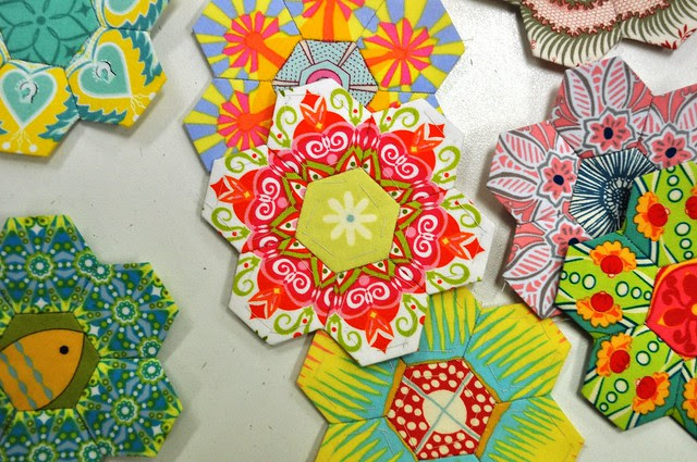 Paper Pieced Hexies with  Fussy Cutting