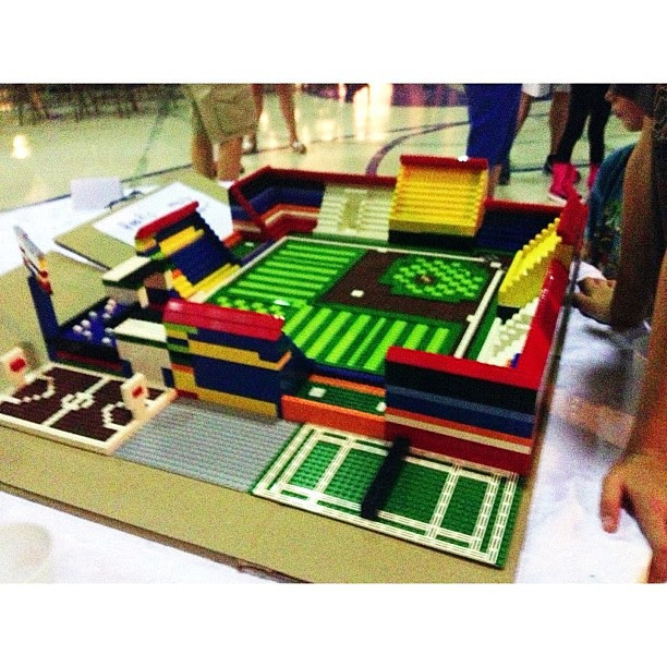 Micaiah's 2013 Lego baseball field...complete with basketball and tennis courts next to the stadium...#legos