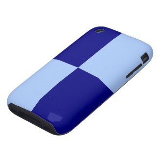 Light Blue and Dark Blue Rectangles Tough iPhone 3 Covers