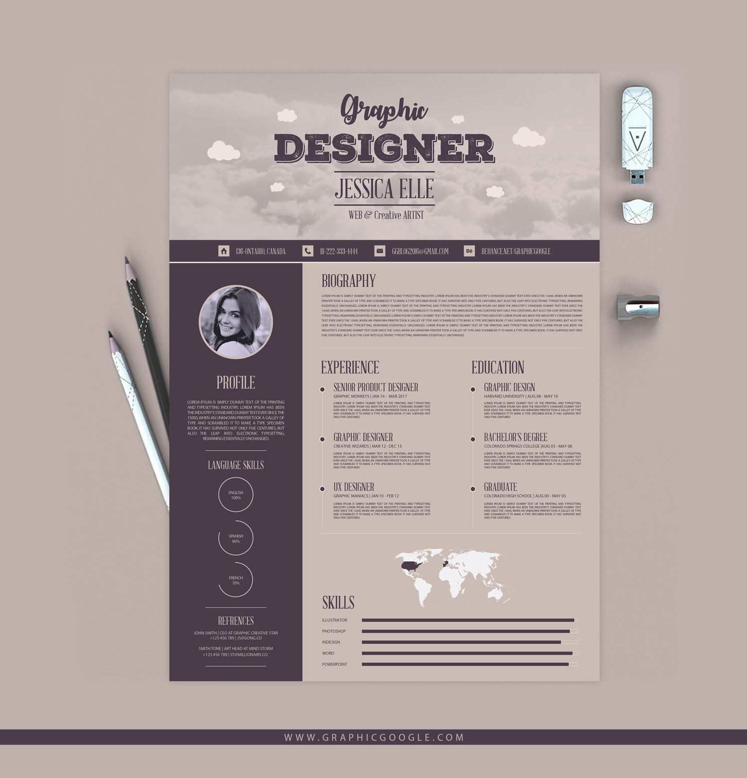Free Creative Vintage Resume Design Template 1