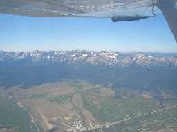 Aerial view of sawtooth mountains