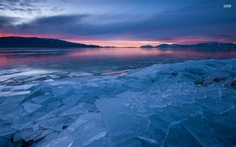 icy lake hills pink sunset wallpapers icy lake hills