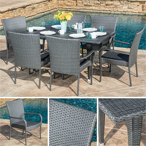 Outdoor Dining Set Gray 7pc Wicker Patio Furniture Table ...