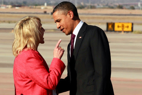 "Arizona Gov. Jan Brewer shaking her finger in President Barack Obama's face. ""Boy, you better listen to me,"" she may have said. Obama soon walked away. by Pan-African News Wire File Photos"