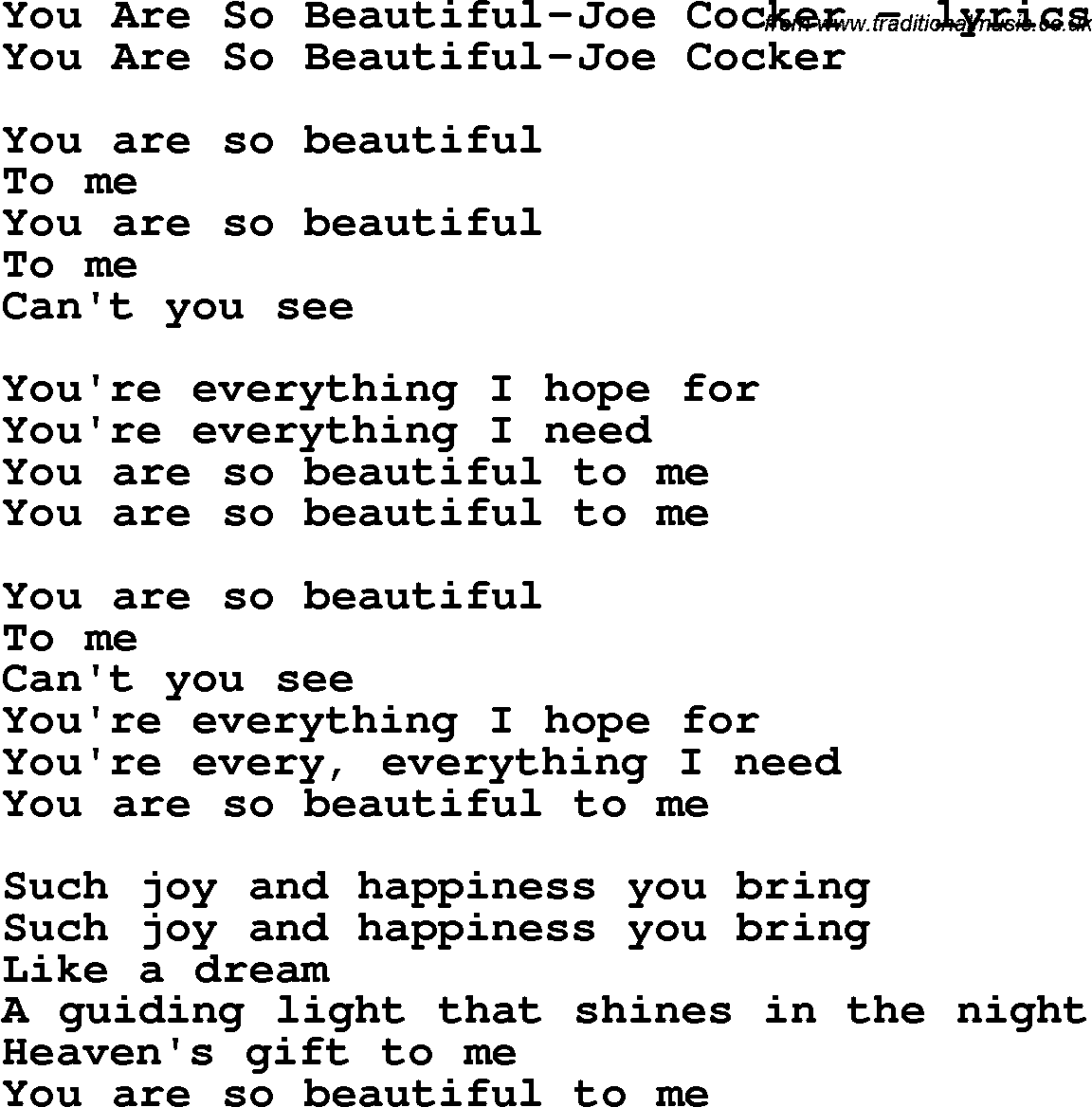 Love Song Lyrics Foryou Are So Beautiful Joe Cocker