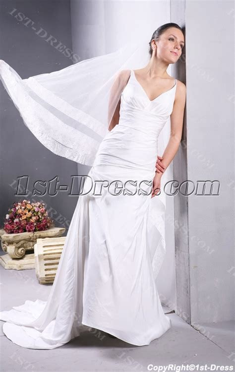 Ivory Simple Beach Flowy Wedding Dresses:1st dress.com