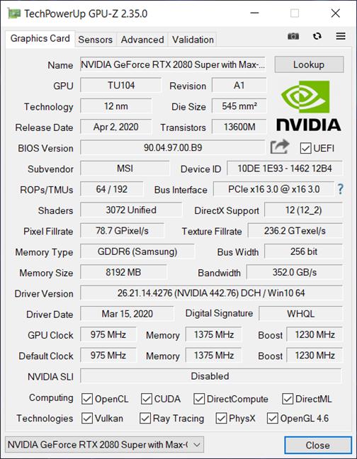 Laptop para juegos MSI GE66 Raider 10SGS: detalles de la GPU