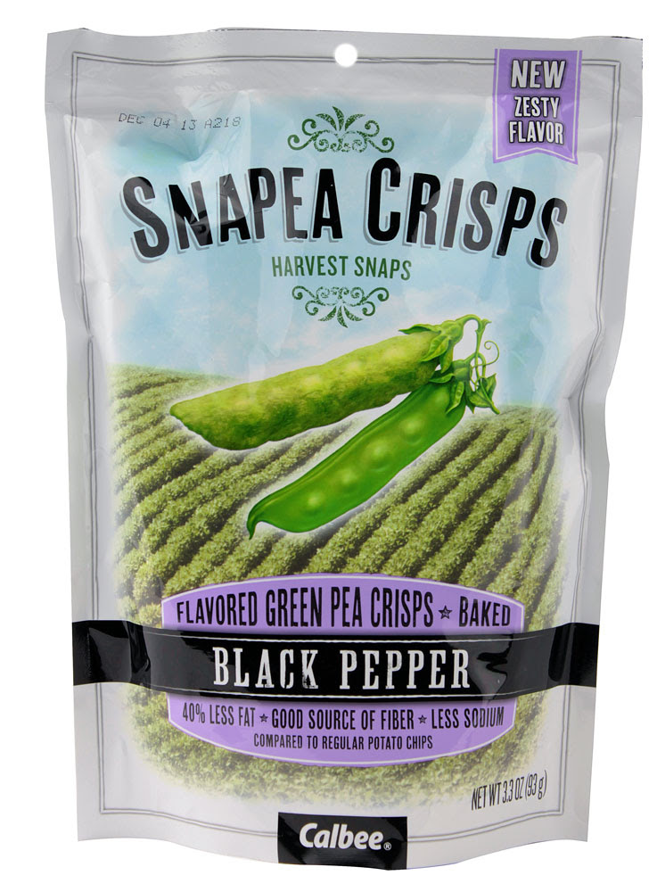 Harvest Snaps, SNAPEA CRISPS, Green Pea Crisps, Baked, Healthy Snack, Black Pepper