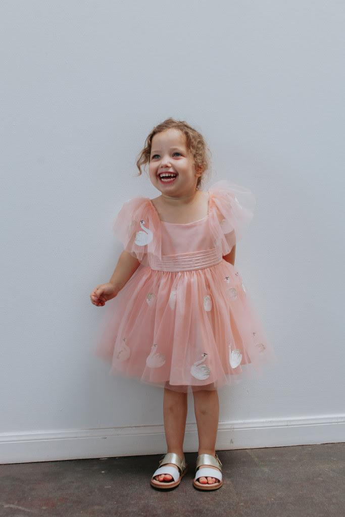 Pink swan boho dress