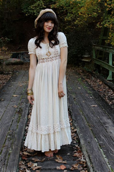 """Vintage 70's Hippie Boho Crochet Lace Wedding Maxi Dress"