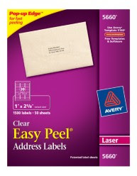 Avery Easy Peel Clear Address Labels 5660 Packaging Image