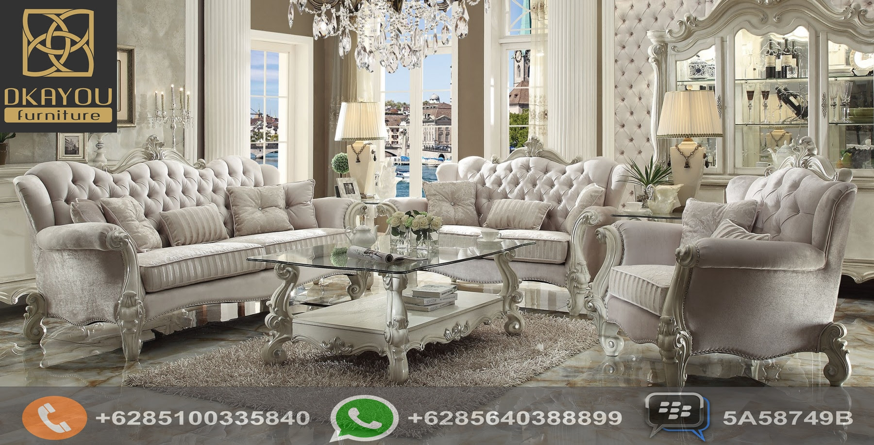 Set Sofa Ruang Tamu Mewah Klasik Model Baru Putih Roman Dkayou