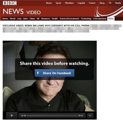 Golpe no Facebook usa falso vídeo de despedida de Robin Williams