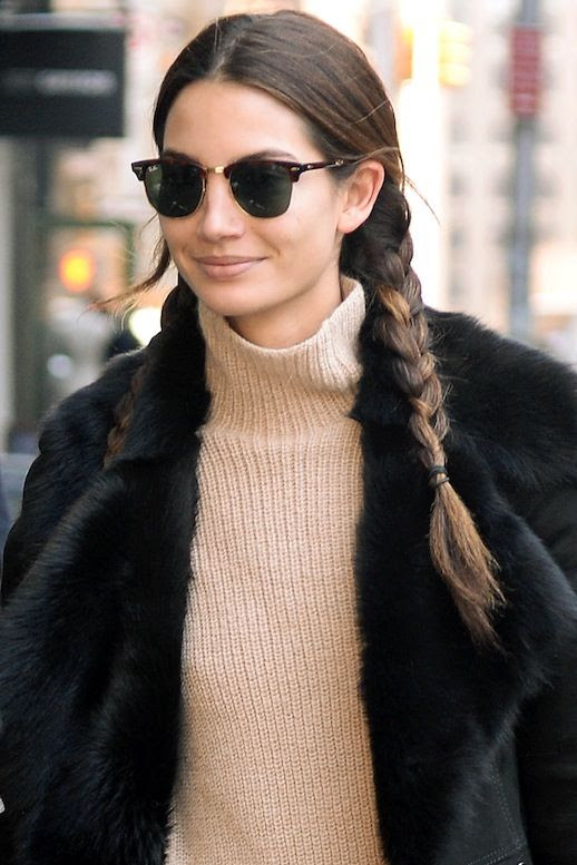 Le Fashion Blog Model Off Duty Street Style Lily Aldridge Pigtail Braids Suede Fur Trimmed Shearling Coat Knit Ribbed Turtleneck Sweater Via Harpers Bazaar